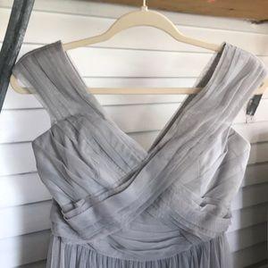 Floor length, grey tulle bridesmaid dress